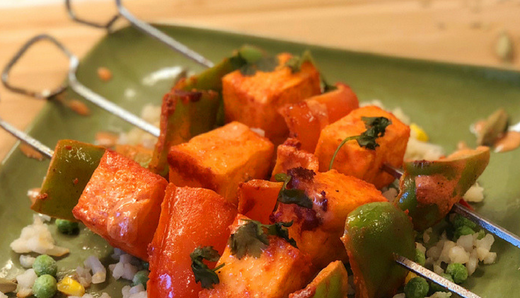 Keto Indian Paneer Kabob with Cauliflower Rice
