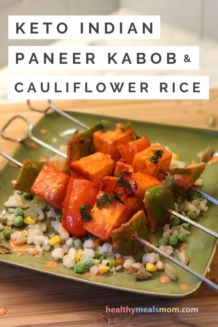 Keto Indian Paneer Kabob with Cauliflower Rice