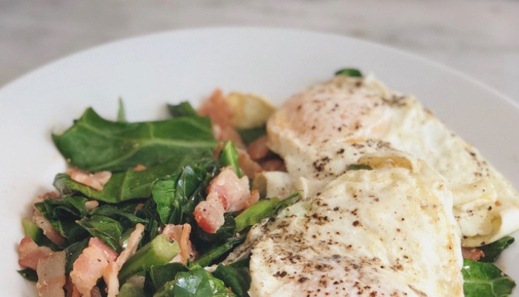 Keto Collard Greens with Bacon and Eggs